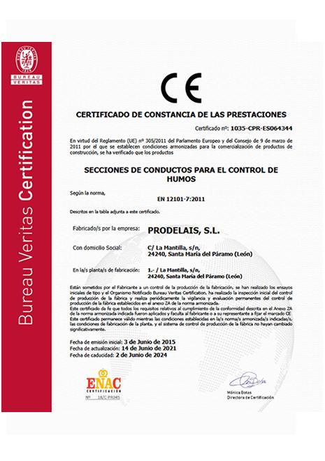 Certificado de constancia de las prestaciones